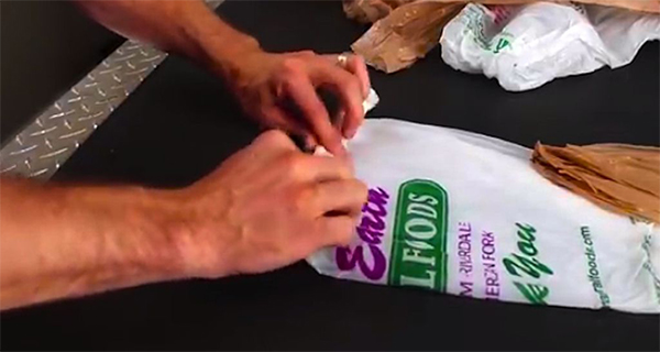 He Rolls A Plastic Shopping Bag At One End. The Results are GENIUS!