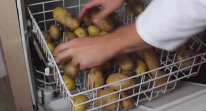 HE DUMPS POTATOES INTO HIS DISHWASHER. IT SEEMED CRAZY UNTIL I SAW WHY!