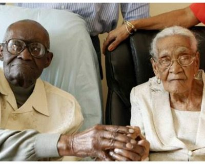They have 213 years together – the husband is 108, the wife 105, and they celebrate 82 Years of Marriage!